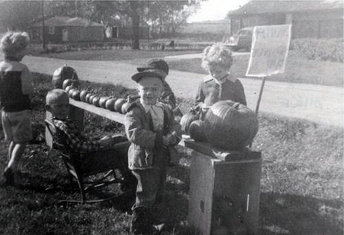 Sandy, Dick, Mike & Doug Selling Pumpkins 1954