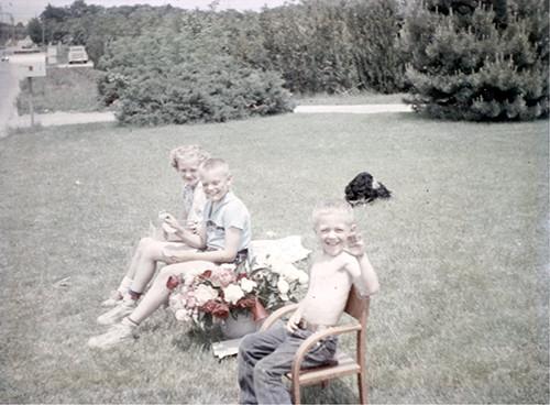 Sandy, Dick & Mike Selling Peonies in 1957
